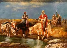 Orientalist French 19th/20th Century - Arab horsemen ready for the battle