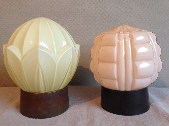 Two beautiful Art Deco ceiling lamps of the Hague company Thabur, approx. 1930