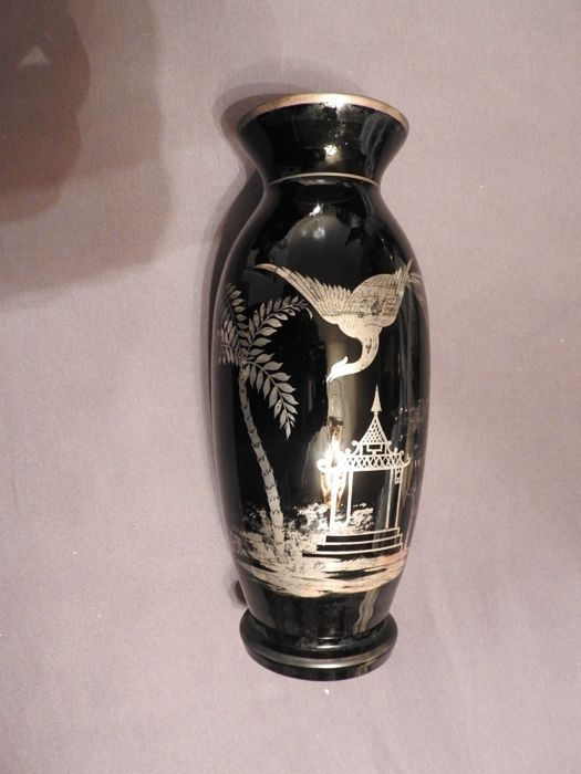 Black glass vase inlaid with silver - China - mid 20th century