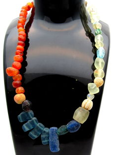 Viking Necklace with Coloured Glass & Amber Beads - WEARABLE GIFT - 405 mm