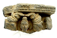 Gandhara Stone Statue of Buddha's Head with Floral Motif  - 185 x 95 mm