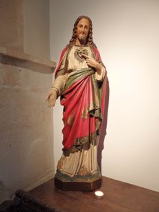 Huge Saints statue 'Christ Sacred Heart' - Bruges, Belgium - circa 1910