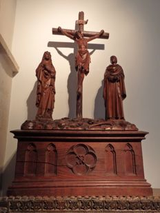 J. Thissen (1840-1920) - a large carved walnut Calvary - Antwerp, Belgium - dated 1883