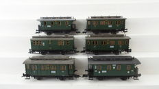 Fleischmann H0 - 5051/5057/5058/5059 - 6 two-axle carriages with skylight 3rd class of the DRG