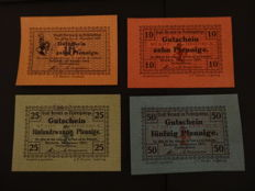 Germany - Berneck (Bayern) - 1917 Emergency money complete series 5, 10, 25 and 50 Pf (10 pf with expiration date)