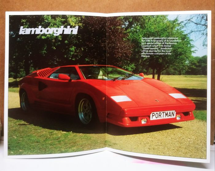 Lamborghini Countach 25th Anniversary Original Uk Market Brochure