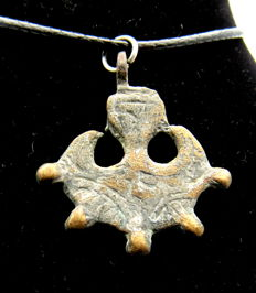 Viking Bronze Thor's Hammer Pendant with Stylized Raven Head - Wearable Gift - 27 mm