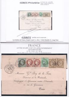 France 1873 - 1873 letter with four-colour postage franking - Signed Calves and Ceres certificate