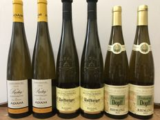 "2x  2010  Alsace Grand Cru Riesling Kaefferkopf  Jean-Baptiste Adam "" Vieilles Vignes, 2x  2015 Alsace Grand Cru Riesling Muenchberg, Wolfberger , 2x  2015 Domaine Dopff Riesling - Total 6 Bottles"