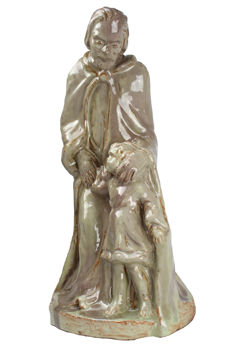 Petri/Tegelen (decorative earthenware studio of Piet Peters) - Glazed terracotta sculpture of the Holy Anthony