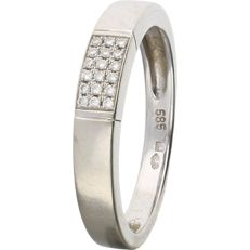 14 kt. - White gold ring band set with 18 brilliant cut diamonds, 0.09 ct in total - Ring size: 17 mm