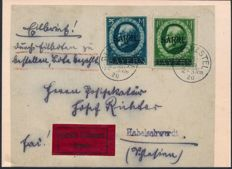 Saar region - 1920 - 'King Luitpold with Saar overprint', 5 M & 10 M on front of letter, verified by Burger BPP