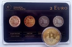 "Germany - 2 euro ""Bremen"" 2010 ""Precious Metal"" - refined (4 different ones) + medal BitCoin"