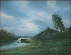 W. Kroon - Oil painting with farm and boat