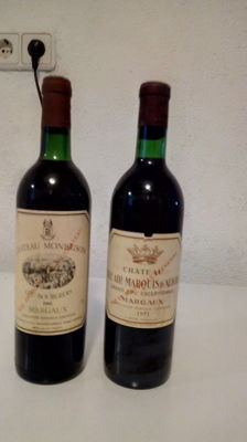 1971 Chateau Belair-Marquis d'Aligre, Cru Bourgeois Exeptionnel Margaux & 1981 Chateau Monbrison, Cru Bourgeois Margaux - 2 bottles 75cl