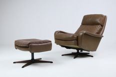 Madsen & Schubel - vintage armchair in buffalo leather with footstool