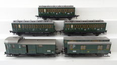 Fleischmann H0 - 5050/5092/5095 - 5 piece passenger train set 3rd class carriages and post/luggage carriage of the DRG