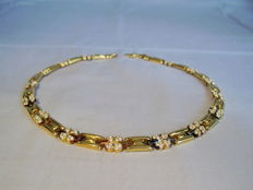 Designer necklace from Italy solid creation 925 silver high value 14 kt gold-plating
