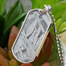 Fine Seymchan Meteorite pendant, with clear Widmanstatten structure, and Sterling Silver chain - 3.5 x 1.8 x 0.3 cm