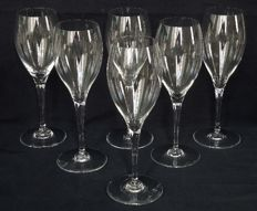 Baccarat, 6 crystal Champagne wine glasses, Saint Remy model - signed - 19.4 cm