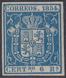 Spain 1854 - Spanish coat of arms. 6 Reales, blue. Proof stamp. Roig mark - Edifil 27M