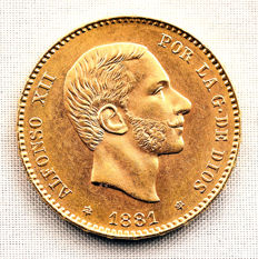Spain - Alfonso XII - No reserve price - 25 gold pesetas of 8.1 g - 1881*18-81 - Madrid