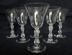 Saint Louis France - 6 crystal wine or port glasses, Lozère pattern - 13cm. - France circa 1900