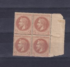 France 1862 – Yvert 26A in block of 4, signed and pdf from Calves