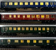 Marklin H0 - 4027/4022/4024/4044 - 2x passenger carriage, 1x restoration carriage and 1x luggage carriage, all with stabilised LED lighting and LED rear lighting (34)