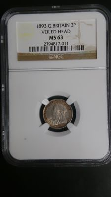 Great Britain - 3 pence 1893 Victoria in NGC slab - silver