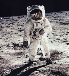 NASA/Neil Armstrong - Astronaut Buzz Aldrin, lunar module pilot, walks on the surface  of the Moon, 1969