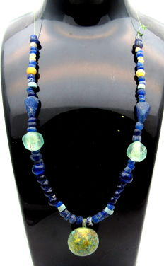 Viking Necklace with Coloured Glass & Stone Beads & Orb- WEARABLE GIFT - 270 mm
