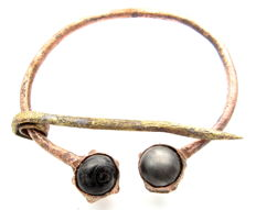 Viking Bronze Omega Brooch with Black Stones - 75 mm