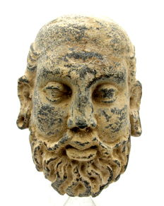 Gandhara Stone Statue of Bearded Face of Buddha (Bactrian Style) - 105 x 75 mm