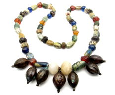 Ancient Roman Glass & Stone beaded necklace with Bronze Pendants - Wearable Gift - 600 mm