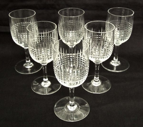 "6 Baccarat Crystal Wine Glasses, ""Nancy"" Model - 10.8 cm France"