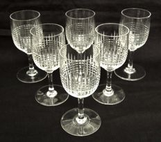 6 Baccarat crystal wine glasses, Nancy model - 12.5 cm France, prior to 1936