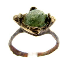 Viking Era Bronze Ring with Green Stone - WEARABLE GIFT & BAG INCLUDED - 20 mm