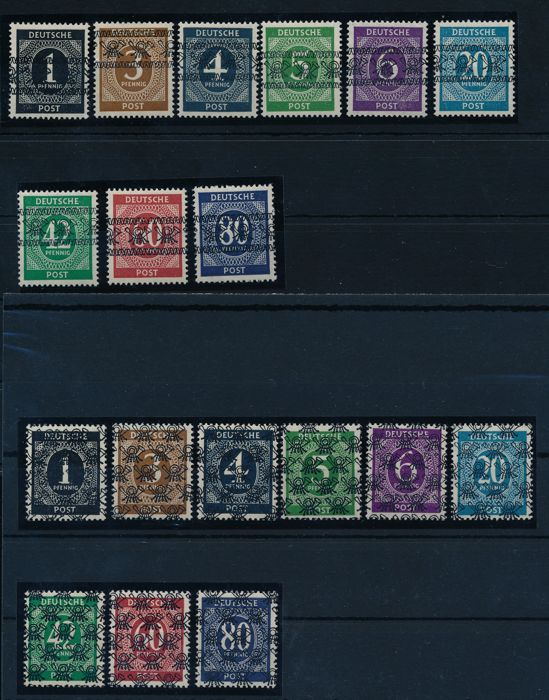 Allied occupation - 1948 - numeral series with post horn overprint, band & grid, Michel I-IX I/II with photo expertise Schlegel