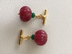 Vintage gilt silver with carved  Ruby melon shape cut  beads