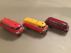 Schuco, US Zone - Western Germany - Length 11 cm - Lot with 3 Varianto busses: 3044, 3048 and 3116 with clockwork / battery engine, 1950s/60s
