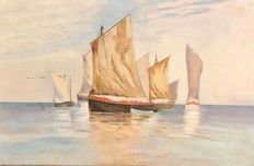 French School 19th - 20th Century  -  Fishing sailboats off  Bretagne Coast  - oil on canvas