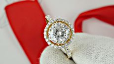 1.46 ct round diamond ring 14 k gold - size 7,5