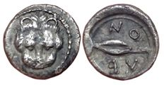 Greek Antiquity - Sicily, Leontini c. 485-466 BC - AR Litra (Silver, 10mm, 0.62gm) - Head of lion / Barley-grain - SNG Cop. 342; SNG ANS 214