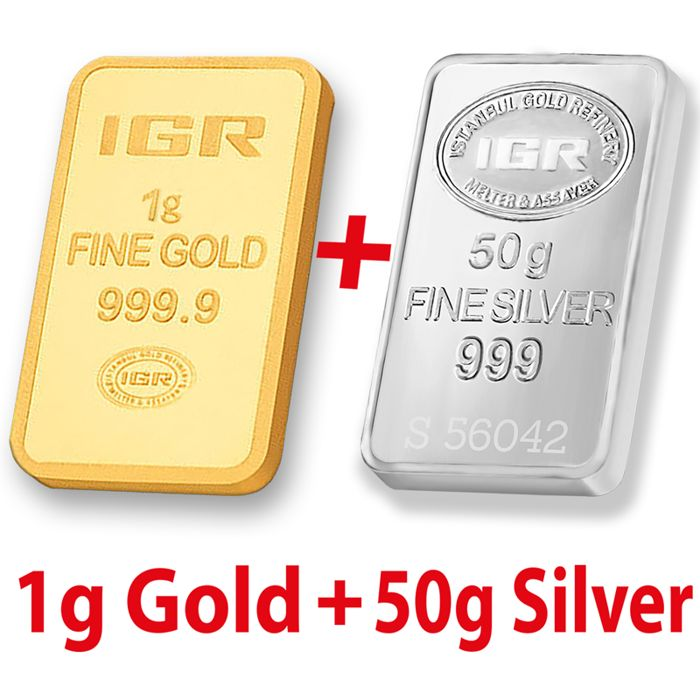 1g Gold & 50g Silver Bullion Bar Set , *** LOW RESERVE PRICE ***