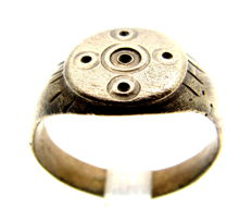 Saxon Ring with Evil's Eye Cross Engraved on Bezel - WEARABLE GIFT WITH GIFT BAG -  16 mm