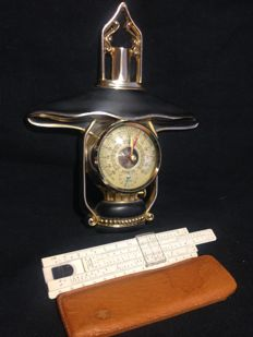 Vintage measurement appliances, barometer and thermometer tulip brand´s with original certificate and calculation rule Aristo Rietz