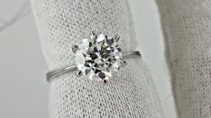 2.10 ct  round diamond ring 14K white gold - size 7