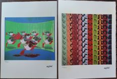 Donald Duck and Myths lithographs by Andy Warhol (after) - Handnumbered and printed signature