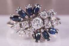 1.17 Ct - elegant diamonds & sapphire ring - Size: 50 - No Reserve !